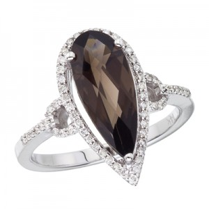 14K White Gold 4 Ct Long Pear Smoky Topaz and Diamond Ring