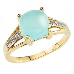 10K Yellow Gold 8 mm Cushion Chalcedony and Diamond Ring