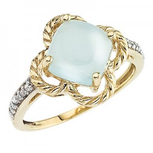 10K Yellow Gold 8 mm Cushion Chalcedony and Diamond Braided Ring