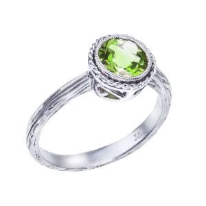 14K White Gold 7 mm Round Peridot Braided Semi Precious  Fashion Ring