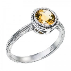 14K White Gold 7 mm Round Citrine Braided Semi Precious Fashion Ring
