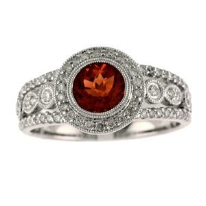 14K White Gold 6mm Round Garnet and Diamond Semi Precious Ring