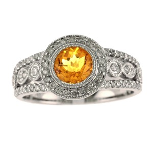 14K White Gold 6mm Round Citrine and Diamond Semi Precious Ring