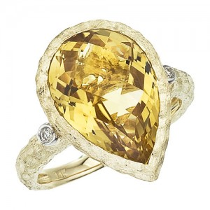 14K Yellow Gold 15x10 mm Pear Citrine Byzantine Ring