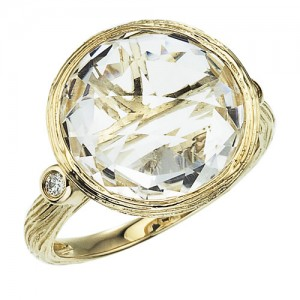 14K Yellow Gold 12 mm Round White Topaz Byzantine Ring
