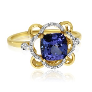 14K Yellow Gold 7mm Cushion Tanzanite and Diamond Fashion Ring