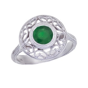 14K White Gold 1.1 Ct Emerald Round Filigree Ring