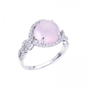 14K White Gold 10 mm Round Frosted Pink Quartz Cabochon and .46 Ct Diamond Ring