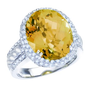 14K White Gold 12 x10 Oval Citrine and .60 Ct Diamond Ring