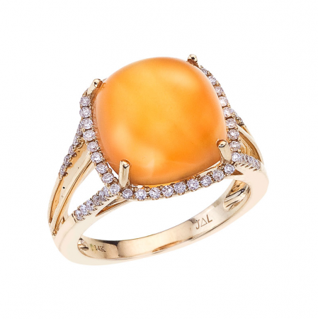 14K Yellow Gold 12mm Cushion Frosted Citrine Cabochons and Diamond Ring