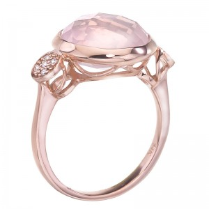 14K Rose Gold 12mm Round Faceted Rose Quartz Cabochon and Diamond Ring