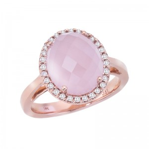 14K Rose Gold 12X10 mm Oval Faceted Rose Quartz Cabochon and Diamond Ring