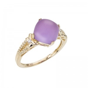 14K Yellow Gold 9mm Cushion Frosted Amethyst Cabochon Ring