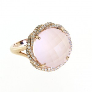 14K Rose Gold 11 mm Round Rose Quartz and Diamond Fancy Sphere Fashion Ring