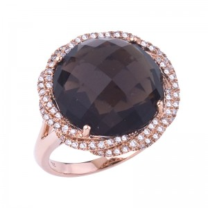 14K Rose Gold 11 mm Round Smoky Topaz and Diamond Fancy Sphere Fashion Ring