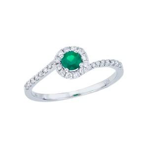 14K White Gold Precious 4.5 mm Round Emerald and Diamond Fashion Swirl Ring