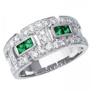 14K White Gold Princess Emerald and Diamond Geometric Fashion Band