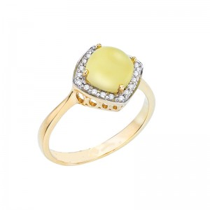 14K Yellow Gold 7mm Cushion Frosted Lemon Quartz Cabochon and Diamond Ring