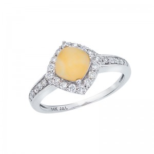 14K White Gold 6mm Cushion Frosted Citrine Cabochon and Diamond Ring
