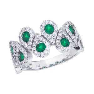 14K White Gold Precious Round Emerald and Diamond Teardrop Fashion Ring