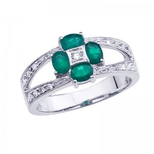 14K White Gold Precious Oval Emerald and Diamond Flower Fashion Ring