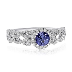 14K White Gold 5mm Round Tanzanite and Diamond Braided Fashion Ring