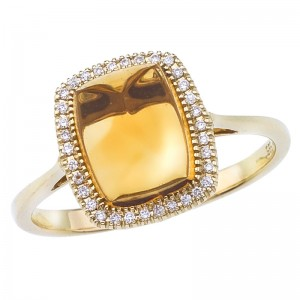 14K Yellow Gold 8x6 mm Octagon Citrine Cabochon and Diamond Ring