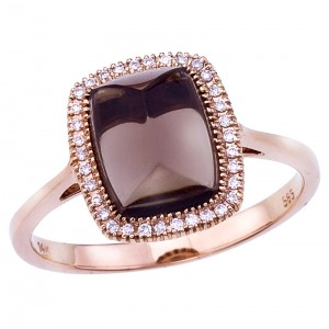 14K Rose Gold 8x6 mm Octagon Smoky Topaz Cabochon and Diamond Ring