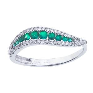 14K White Gold Emerald and Diamond Precious Wave Fashion Ring