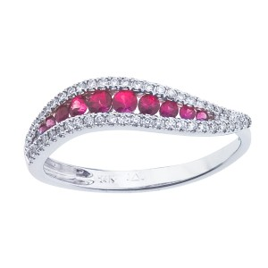 14K White Gold Ruby and Diamond Precious Wave Fashion Ring