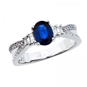 14K White Gold 7x5 Oval Sapphire and Diamond Precious Split Shank Ring