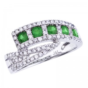 14K White Gold Princess Emerald and Diamond Precious Bypass Fashion Ring