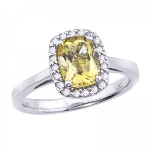 14K White Gold 8x6 mm Faceted Cushion Citrine and Diamond Fashion Ring