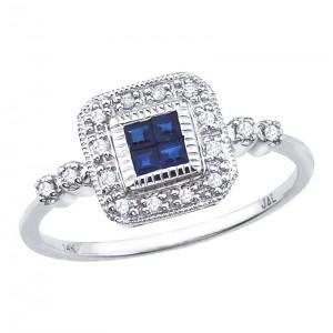 14K White Gold Precious Princess Sapphire and Diamond Square Fashion Ring