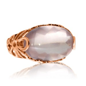 14K Rose Gold 18x12 mm Oval Rose Quartz Cabochon Fashion Ring
