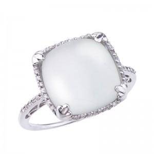 14K White Gold 12mm Cushion Frosted White Quartz Cabochon Fashion Ring