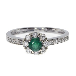 14K White Gold 4 mm Round Emerald and Diamond Precious Ring