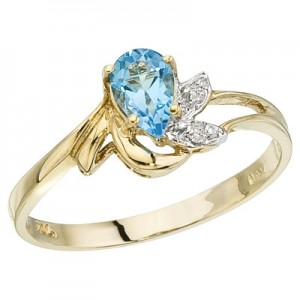 10K Yellow Gold Pear Blue Topaz and Diamond Leaf Birthstone Ring