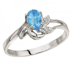 10K White Gold Pear Blue Topaz and Diamond Leaf Birthstone Ring