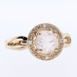 14k Rose Gold Round Rose Quartz Fashion Ring