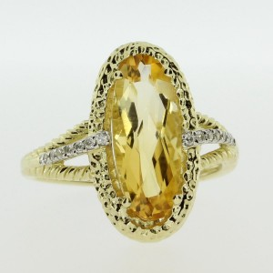 14k Yellow Gold Large Oval Citrine Semiprecious Ring