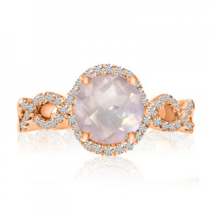 14K Rose Gold Luminous Round Faceted Rose Quartz and Diamond Fashion Figure 8 Ri