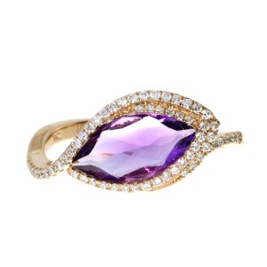 14K Rose Gold 12x6 mm Side set Marquise Amethyst with Diamonds Semi Precious Rin