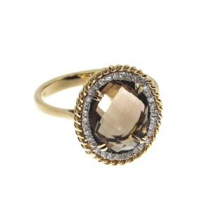 14K Yellow Gold 10x12 mm Oval Smoky Topaz and Diamond Braided Fashion Ring