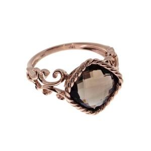 14K Rose Gold 10 mm Cushion Smoky Topaz Braided Fashion Ring