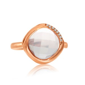 14K Rose Gold Bezel 10 mm Cushion Rose Quartz and Diamond Fashion Ring