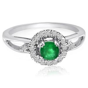 14K White Gold Precious Emerald and Diamond Halo Fashion Ring