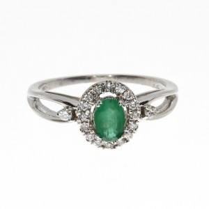 14K White Gold 6x4 mm Oval Emerald and Diamond Halo Precious Ring