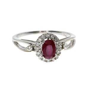 14K White Gold 6x4 mm Oval Ruby and Diamond Halo Precious Ring