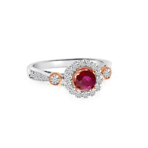 14K White and Rose Gold Precious 5 mm Ruby and Diamond Ring